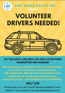 Download LinC Transport Volunteers Call Out Flyer